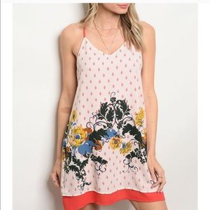 Ivory/red floral print tunic dress.